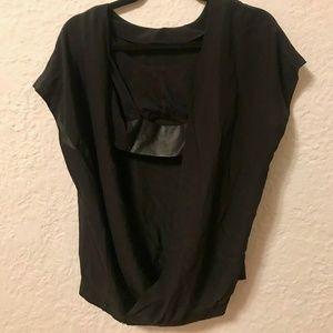 CLUB MONACO Black Open Back Silk Top Size 0